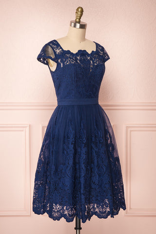 Andela Navy Blue Lace A-Line Cocktail Dress | Boutique 1861 3