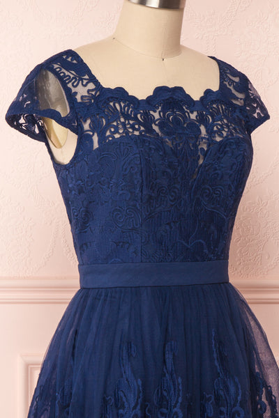 Andela Navy Blue Lace A-Line Cocktail Dress | Boutique 1861 4