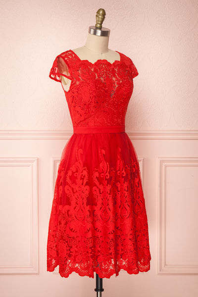 Andela Red Lace A-Line Cocktail Dress | Boutique 1861 3