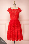 Andela Red Lace A-Line Cocktail Dress | Boutique 1861