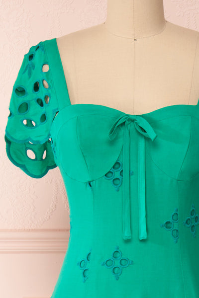 Andreia Turquoise Openwork Short Dress | Boutique 1861 front close-up