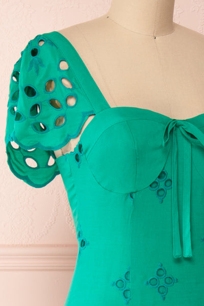 Andreia Turquoise Openwork Short Dress | Boutique 1861 side close-up
