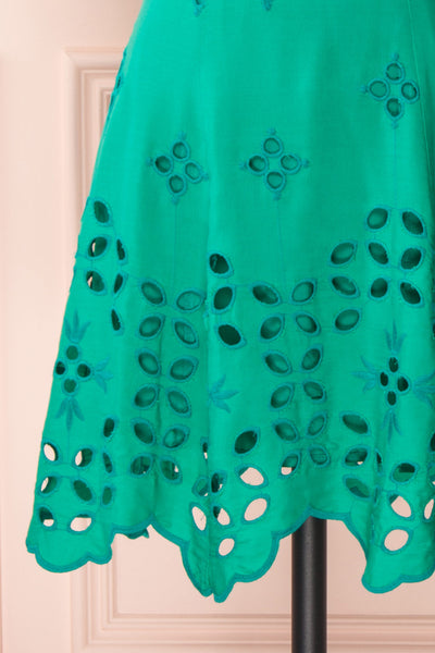 Andreia Turquoise Openwork Short Dress | Boutique 1861 bottom close-up