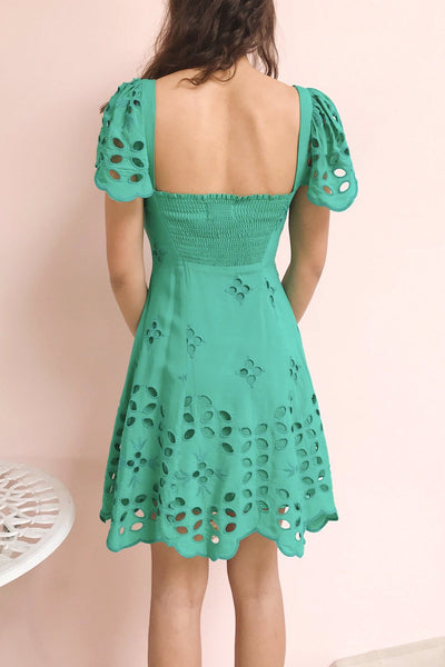 Andreia Turquoise Openwork Short Dress | Boutique 1861 model back