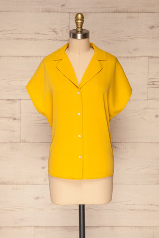 Andria Field Yellow Short Sleeved Blouse | La Petite Garçonne front view
