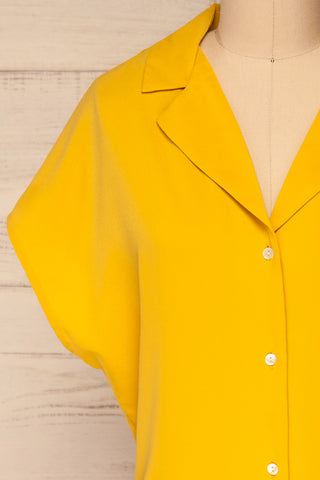 Andria Field Yellow Short Sleeved Blouse | La Petite Garçonne front close-up