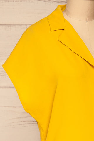 Andria Field Yellow Short Sleeved Blouse | La Petite Garçonne side close-up