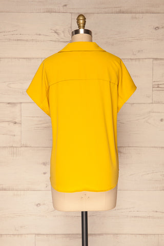 Andria Field Yellow Short Sleeved Blouse | La Petite Garçonne back view
