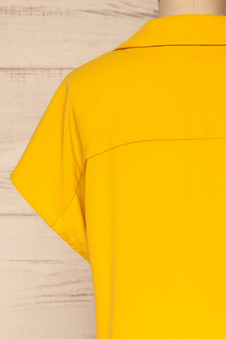 Andria Field Yellow Short Sleeved Blouse | La Petite Garçonne back close-up