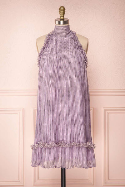 Andzelika Purple Flared Halter Cocktail Dress | Boutique 1861