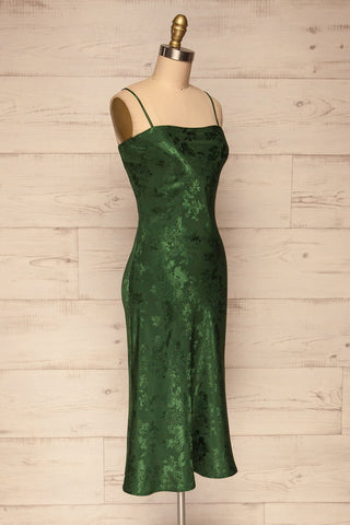 Anemone Green Satin Dress | Robe Verte side view | La Petite Garçonne