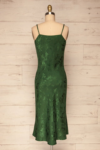 Anemone Green Satin Dress | Robe Verte back view | La Petite Garçonne