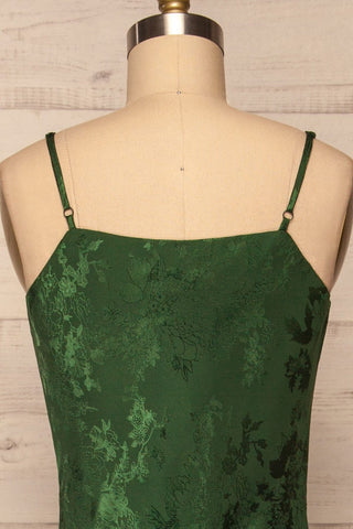 Anemone Green Satin Dress | Robe Verte back close up | La Petite Garçonne