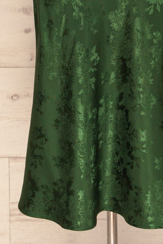 Anemone Green Satin Dress | Robe Verte skirt close up | La Petite Garçonne