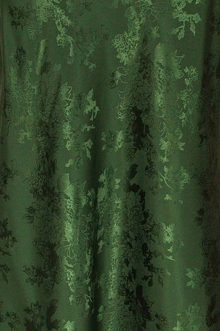 Anemone Green Satin Dress | Robe Verte fabric close up | La Petite Garçonne