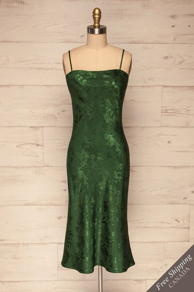 Anemone Green Satin Dress | Robe Verte front view FS | La Petite Garçonne