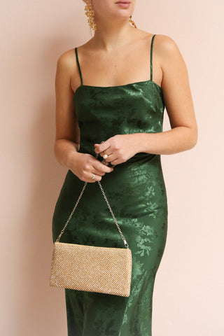 Anemone Green Satin Dress | Robe Verte | La Petite Garçonne on model with gold accessories