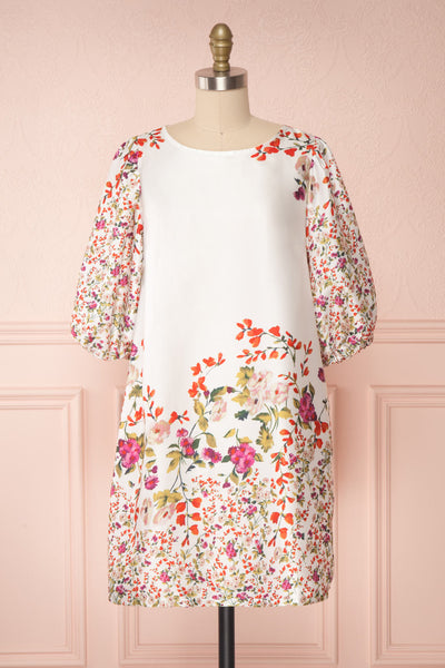 Angelica White Floral Puffy Sleeve Dress | Boutique 1861 front view