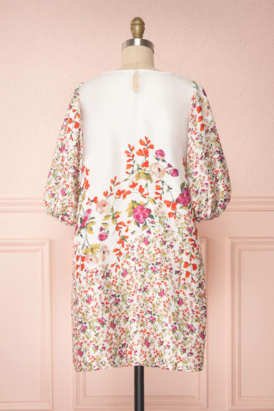 Angelica White Floral Puffy Sleeve Dress | Boutique 1861 back view