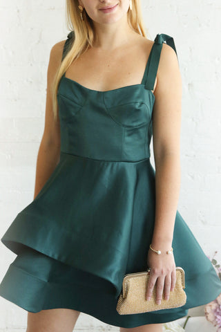 Angelina Emerald Green Satin A-Line Party Dress | Boutique 1861 on model with gold accessories