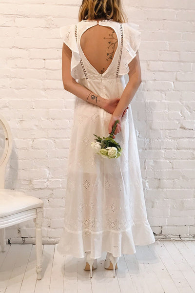 Angeline White Maxi Openwork Bridal Dress | Boudoir 1861 model back 1