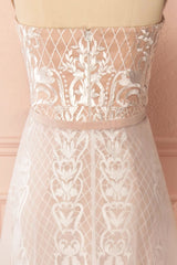 Angélique Beige Embroidered Fitted Maxi Dress with Cape | Boudoir 1861