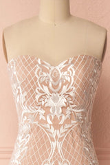 Angélique Beige Embroidered Fitted Maxi Dress with Cape | Boudoir 1861 4