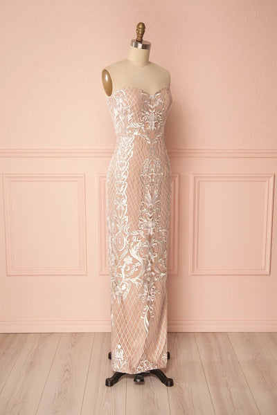Angélique Beige Embroidered Fitted Maxi Dress with Cape | Boudoir 1861 5