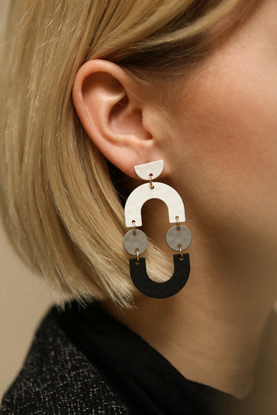 Angri Winter Black, White & Grey Pendant Earrings | La Petite Garçonne on blond model