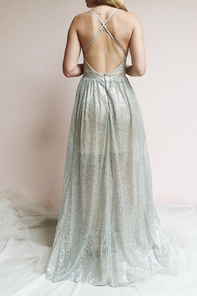 Anice Silver Glittery Dress | Robe Argent | Boutique 1861 on model view from the back