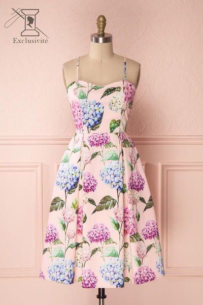 Aniko Pink A-Line Cocktail Dress with Floral Print | Boutique 1861