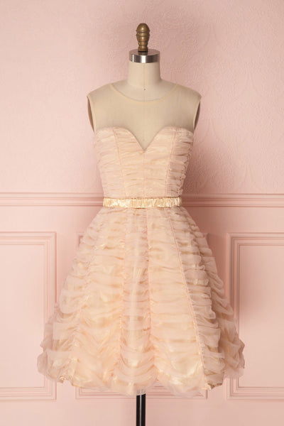 Anisa Blush Pink & Cream Pleated Tulle A-Line Dress | Boutique 1861