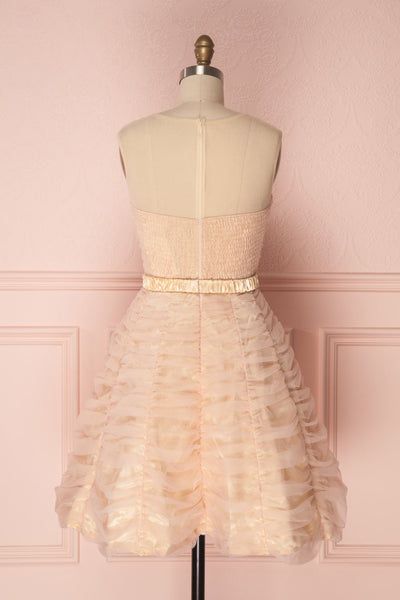 Anisa Blush Pink & Cream Pleated Tulle A-Line Dress | Boutique 1861 5