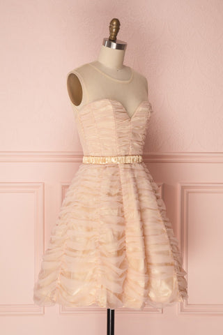 Anisa Blush Pink & Cream Pleated Tulle A-Line Dress | Boutique 1861 3