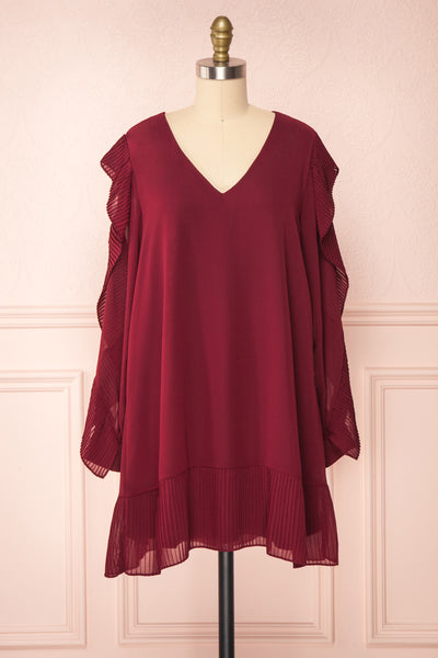 Anisha Burgundy Wide Long Sleeve Dress w/ Frills | Boutique 1861 front view