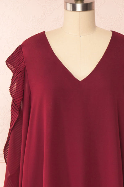Anisha Burgundy Wide Long Sleeve Dress w/ Frills | Boutique 1861 front close up