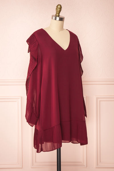 Anisha Burgundy Wide Long Sleeve Dress w/ Frills | Boutique 1861 side view