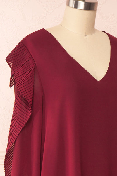 Anisha Burgundy Wide Long Sleeve Dress w/ Frills | Boutique 1861 side close up