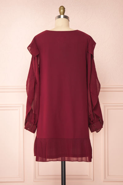 Anisha Burgundy Wide Long Sleeve Dress w/ Frills | Boutique 1861 back view
