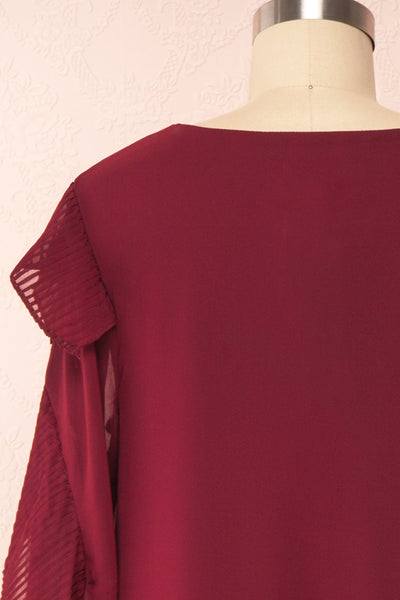 Anisha Burgundy Wide Long Sleeve Dress w/ Frills | Boutique 1861 back close up