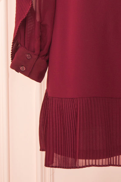 Anisha Burgundy Wide Long Sleeve Dress w/ Frills | Boutique 1861 sleeve