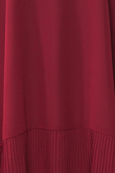 Anisha Burgundy Wide Long Sleeve Dress w/ Frills | Boutique 1861 fabric