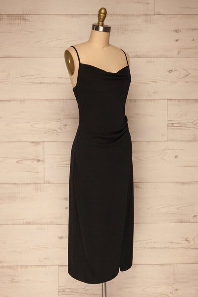 Anita Black Silky Midi Dress | La petite garçonne side view