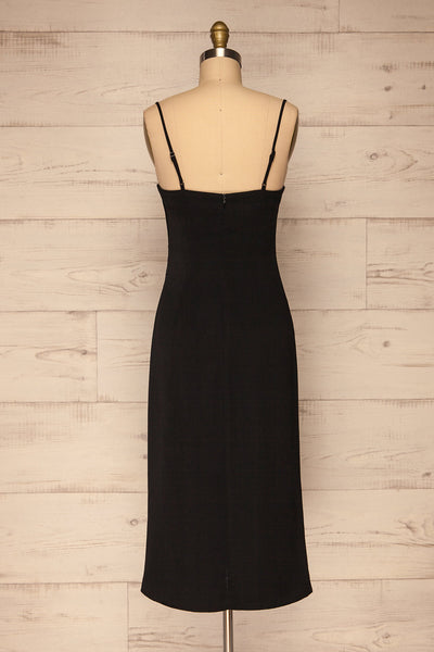 Anita Black Silky Midi Dress | La petite garçonne back view