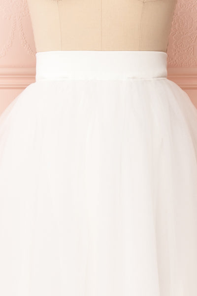 Anitia Ivory Tulle Midi A-Line Skirt | FRONT CLOSE UP | Boutique 1861