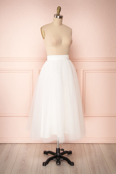 Anitia Ivory Tulle Midi A-Line Skirt  | SIDE VIEW | Boutique 1861