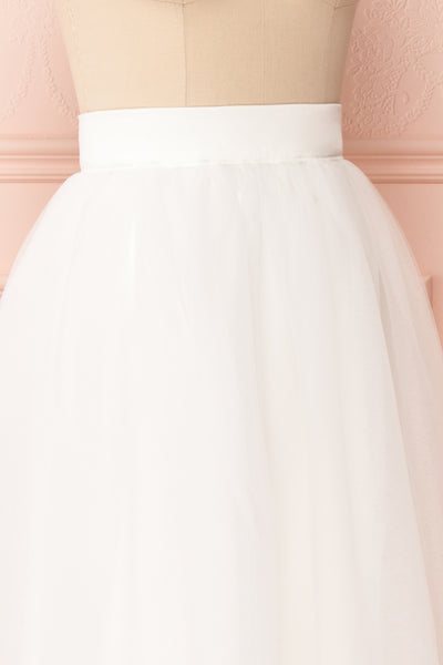 Anitia Ivory Tulle Midi A-Line Skirt | SIDE CLOSE UP | Boutique 1861