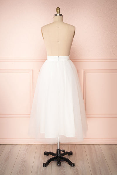 Anitia Ivory Tulle Midi A-Line Skirt | BACK VIEW | Boutique 1861