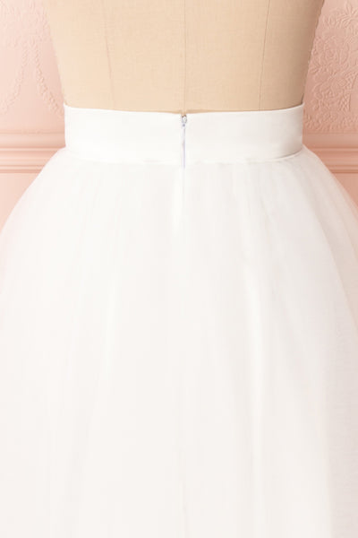 Anitia Ivory Tulle Midi A-Line Skirt | BACK CLOSE UP | Boutique 1861