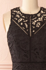 Anivia Black Openwork Crocheted Lace Short Dress | Boutique 1861